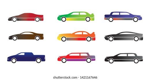 sedan cars icon set collection vector