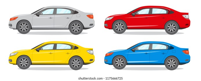 Sedan Different Color Vector Illustration. Car Icon