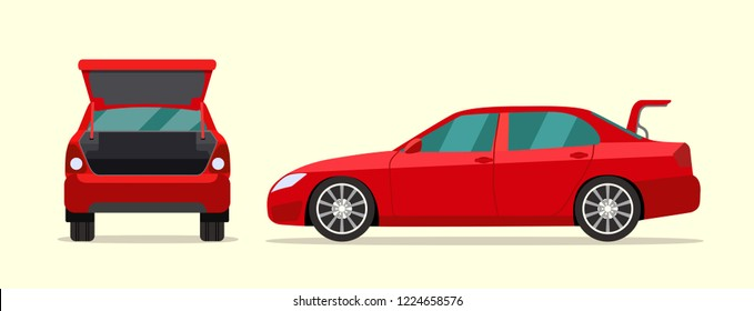 Сar sedan with open boot. Side and back view. Vector flat style illustration