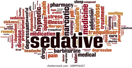 Sedative word cloud concept. Vector illustration