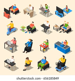 Sedentary icon isometric collection of sixteen isolated image compositions of sitting human characters at different work vector illustration