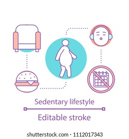 Sedentary lifestyle concept icon. Obesity problem idea thin line illustration. Physical inactivity and overweight. Vector isolated outline drawing. Editable stroke