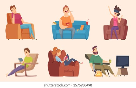 Sedentary lifestyle. Man and woman sitting relaxing eating food lazy working fat unhealthy characters watching tv vector cartoons