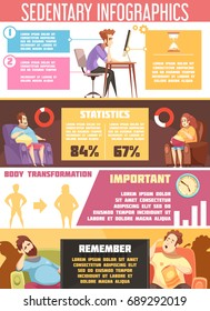 Sedentary lifestyle retro cartoon infographics with information about negative habits including sitting work, health problems vector illustration