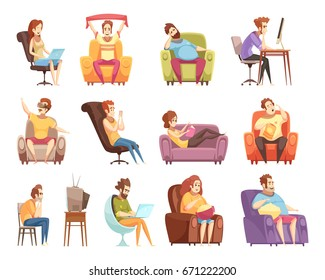 Sedentary lifestyle set of retro cartoon icons with work at computer, watching television, reading isolated vector illustration