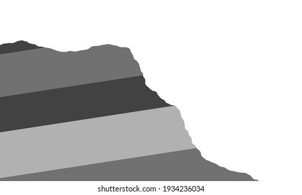 Sedimentary rock slope. Grey dipping layered outcrop. Geologic cross section