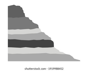Sedimentary slope. Grey layered outcrop. Geologic cross section