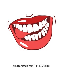 Seductive sexy lips, dazzling smile, color drawing in vector