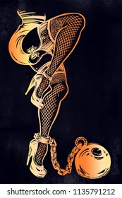 Seductive woman in fishnet stockings with high heels shoes and ball and chain. Decorative drawing in flash tattoo style. Vector illustration isolated.