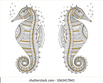 See animals wild life illustration. Vector anti stress adult zentangle coloring seahorse book page. Vector sea horse drawing symbol for print, textile, t-shirts, cards, polygraphic goods.