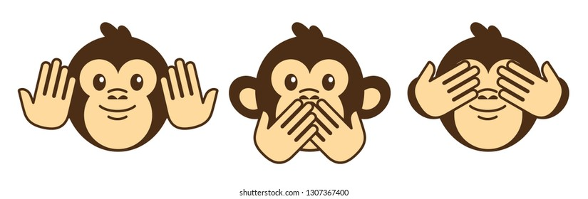 See no evil, hear no evil, speak no evil. Three monkeys isolated on white.