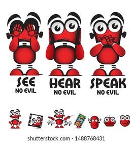 See No Evil, Hear No Evil, Speak No Evil. Robot poster illustration. editable in layers