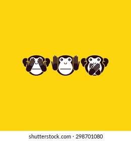 See no Evil, Hear no Evil, Speak no Evil. Three monkeys. Vector illustration