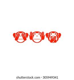 See no evil, hear no evil, speak no evil. Vector illustration.