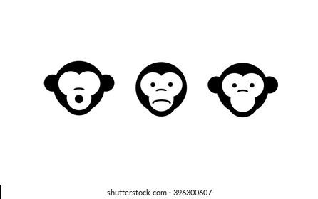 See no evil, hear no evil, speak no evil. Vector illustration. three monkeys