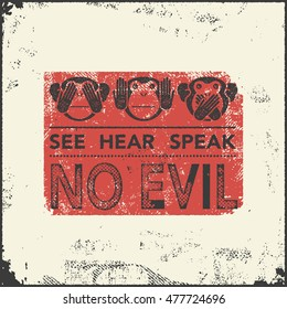 See no evil, hear no evil, speak no evil. Vector illustration