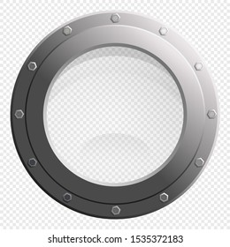 See through Porthole glass window from spaceship or submarine blank scene on transparency grid