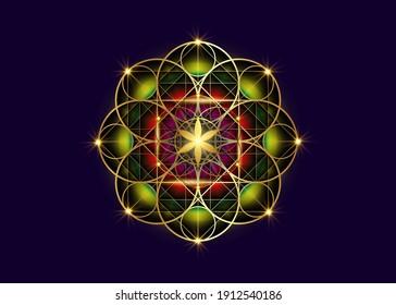 Seed of life symbol Sacred Geometry.  Geometric mystic colorful mandala of alchemy esoteric Flower of Life. Gold luxury design, vector divine meditative amulet isolated on blue background