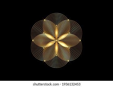 Seed of life symbol Sacred Geometry. Gold Logo icon  Geometric mystic mandala of alchemy esoteric Flower of Life. Interlaced gold circles, vector divine meditative amulet isolated on black background