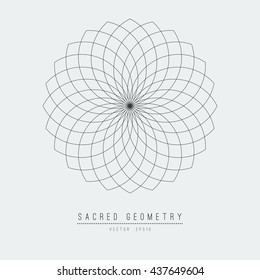 Seed of life - tube torus. Flower of Life. Sacred Geometry. Symbol of Harmony and Balance. Vector Illustration.Hypnotic Eye basic element.