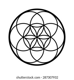 Seed of life vector, sacred geometry symbol
