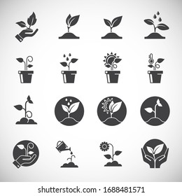 Seed related icons set on background for graphic and web design. Creative illustration concept symbol for web or mobile app.
