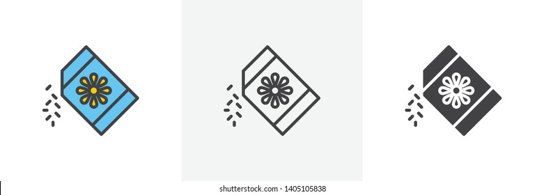 Seeds pack icon. Line, glyph and filled outline colorful version, sunflower seeds pack outline and filled vector sign. Farming symbol, logo illustration. Different style icons set. Vector graphics