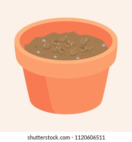 Seeds in a pot are Growing up is a soft shoot.