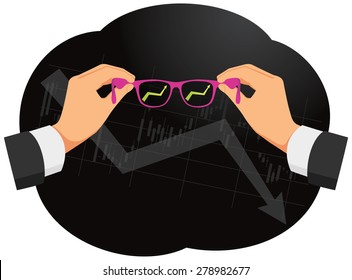 Seeing through rose-colored glasses on the economic downturn. Pink glasses in hands.