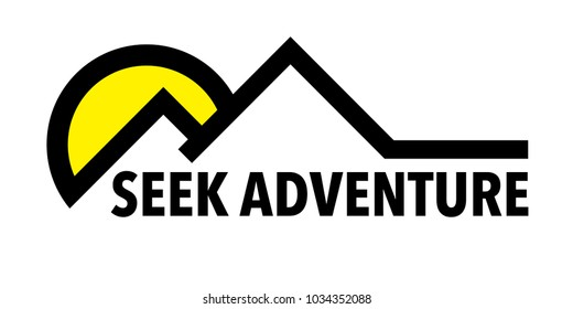 Seek Adventure inspirational wilderness travel quote. Mountain and sun landscape icon. Vector illustration.