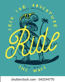 seek the adventure - ride the wave. T Rex dinosaur drawing surfing vintage print in blue and yellow retro colors.