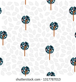 Seemless pattern of circle geometric tree and bird design gray tone for background, card, paper print, and fabric business. Vector design.