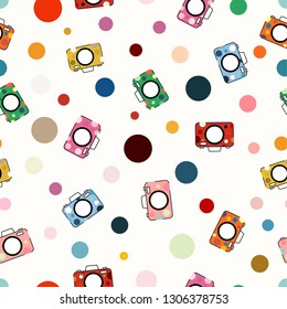 Seemless pattern of colorful camera on white background for background, card, paper print, and fabric business. Vector design.