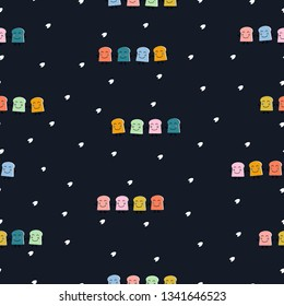 Seemless pattern of colorful slice bread smile face, dark blue background for paper print, textile fabric business. Vector design.