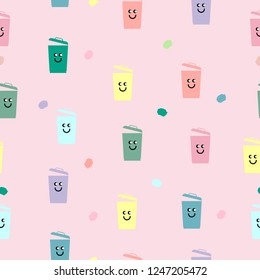Seemless pattern of colorful trashcan with smile face on, pink background for paper print, background product or ornament business. Vector design.
