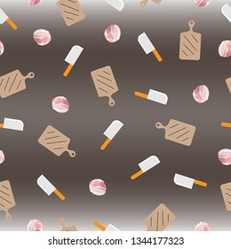 Seemless pattern of piece of bacon, chopper and butcher, brown background for paper print, textile fabric business. Food business. Vector design.