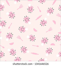 Seemless pattern of pink slice bread smile face wearing cooking hat, pink and kitchenware background for paper print, textile fabric business. Vector design.