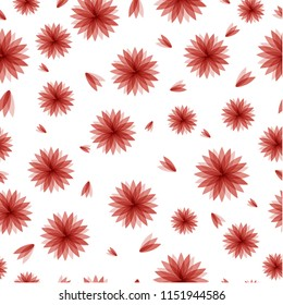 Seemless pattern of red flower different size, cute and romantice mood for ornament, print, paper. Vector design.