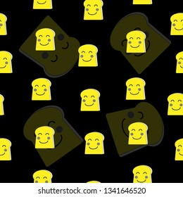 Seemless pattern of yellow slice bread smile face, yellow and black background for paper print, textile fabric business. Vector design.
