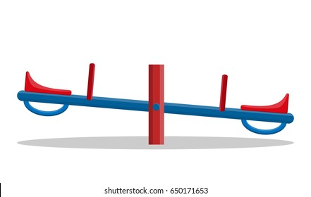Seesaw closeup isolated on white background. Flat design. Vector illustration