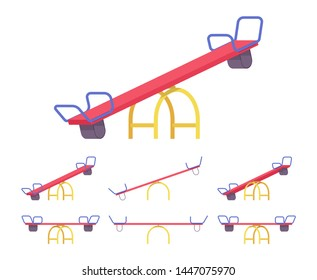Seesaw set park, garden equipment. Kid recreation teeter-totter, move up and down, play outside at home playground. Vector flat style cartoon illustration isolated on white background, different views