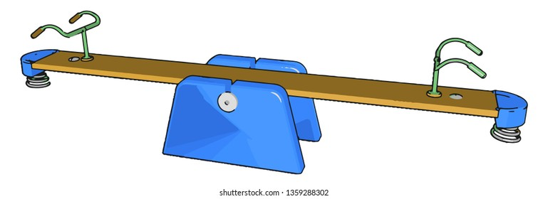 A seesaw toy is a long narrow board supported by a single pivot point most commonly located at the midpoint between both ends vector color drawing or illustration