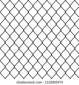 Segment of a metal mesh fence. Vector illustration.