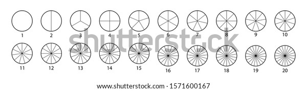 Segmented circles set isolated on a white background.Various number of sectors divide the circle on equal parts. Black thin outline graphics.
