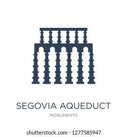 segovia aqueduct icon vector on white background, segovia aqueduct trendy filled icons from Monuments collection, segovia aqueduct vector illustration
