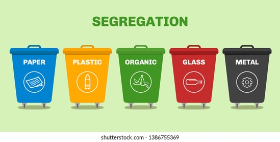 segregation recycling bin with different colors