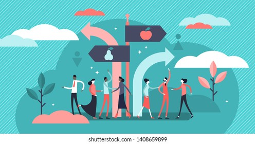 Segregation vector illustration. Flat tiny equal diversity sorting persons concept. Stereotype separation by ethnic race, gender, religion or age. Minority discrimination and ageism community problem.