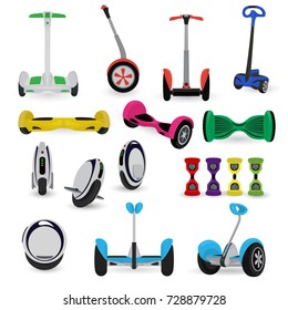Segway monowheel solo wheel hoverboard gyroscooter set electro eco transport vector illustration