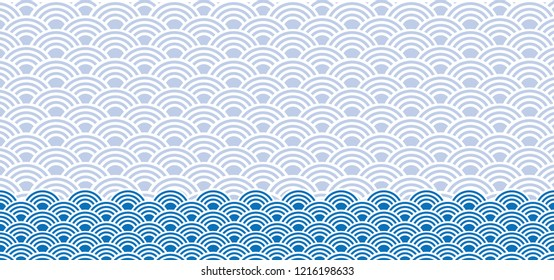 Seigaiha Japanese Japan Chinese traditional ornament Asian background seamless sea ocean wave waves happy new year fish scales vector icon sign fun funny orient oriental symbol doodle blue 青海波