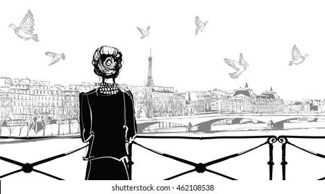 Seine river in Paris - vector illustration